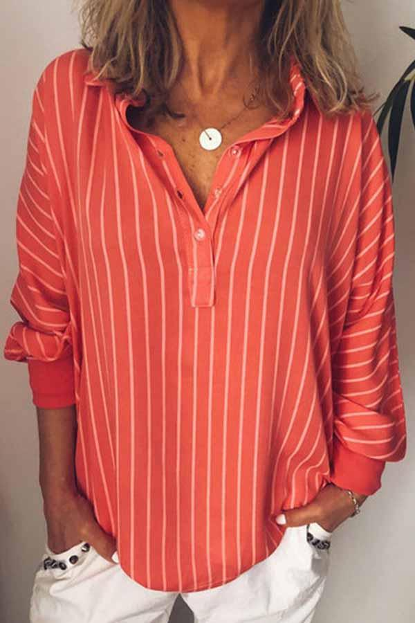 Batwing Sleeve Striped Shirt Collar Casual Wear Blouse