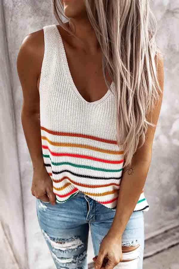 Sleeveless Striped V Neck Vest