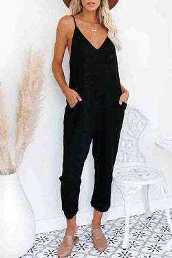 Solid Color Spaghetti Strap Casual Wear Jumpsuit