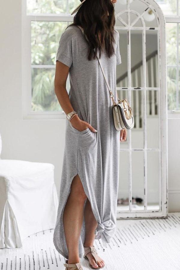 Short Sleeve Solid Color Round Neck Casual Wear Dress