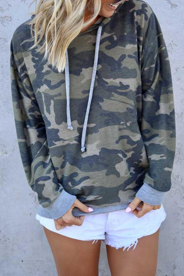 Camouflage Hooded collar Casual Wear Hooded Top