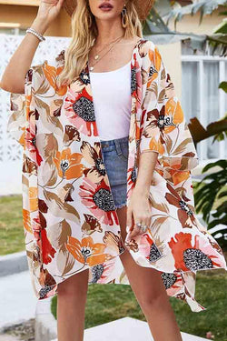 Half Sleeve Flower Print Turtle Neck Sun Proof Cardigan