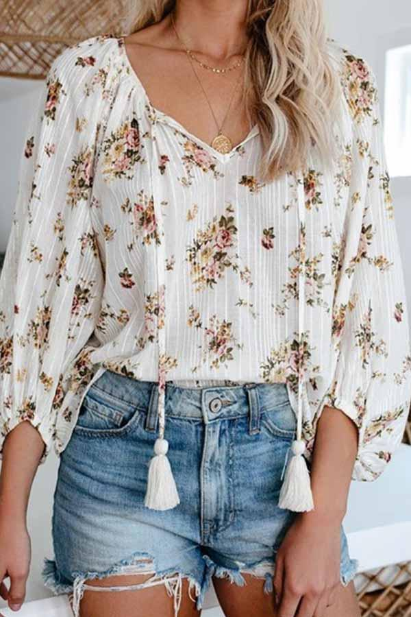 Floral Print V Neck Casual Wear Blouse