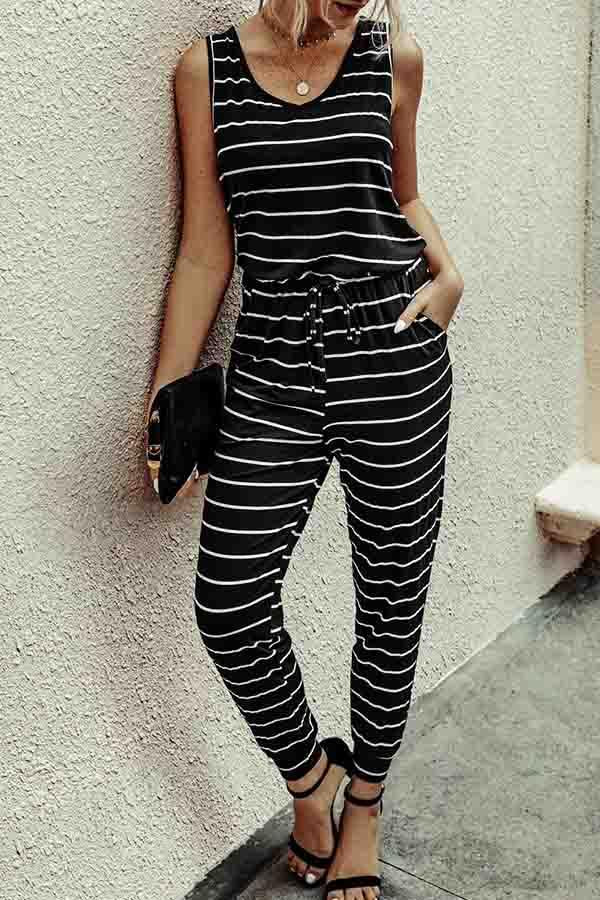 Sleeveless Striped V Neck Casual Wear Jumpsuit