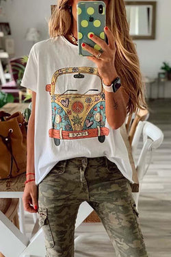 Short Sleeve Graphic Print Round Collar Leisurewear T-Shirt
