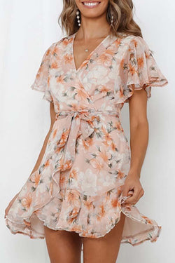 Puff Sleeve Floral Print V Neck Leisurewear Dress