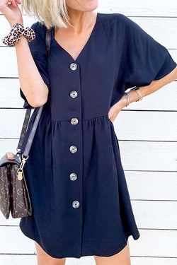 Short Sleeve Solid Color V Neck Single Breasted Stylish Dress
