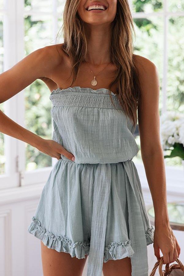 Sleeveless Solid Color Bandeau Lace-Up Romper