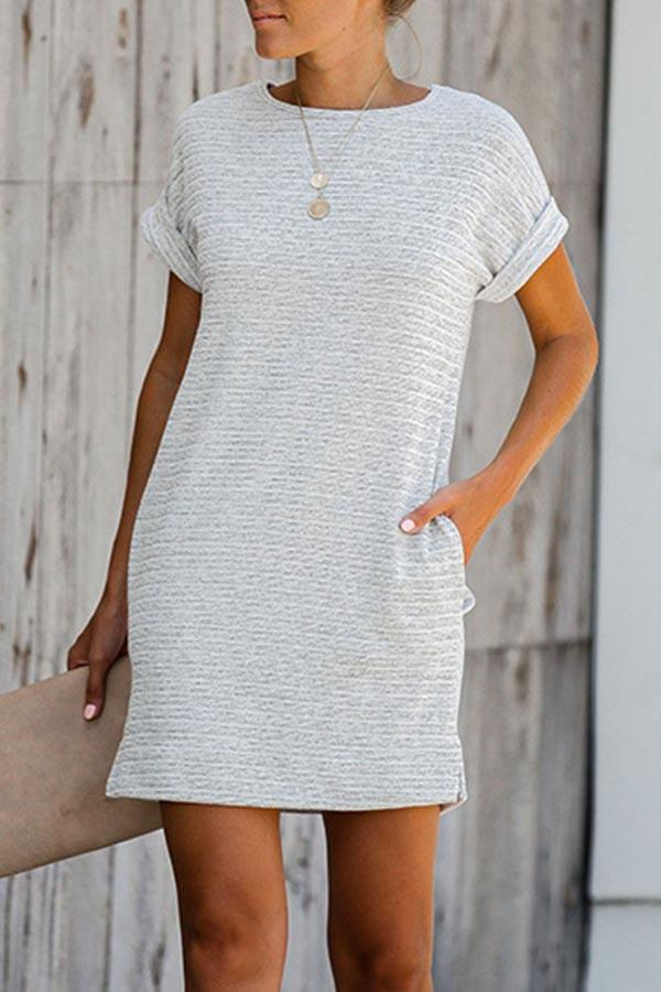 Short Sleeve Solid Color Round Collar Bohe Dress