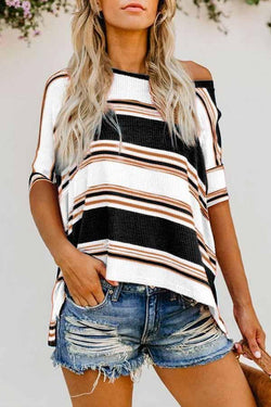 Batwing Sleeve Striped One Shoulder High Low T-Shirt
