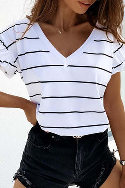Striped V Neck Casual Wear T-Shirt