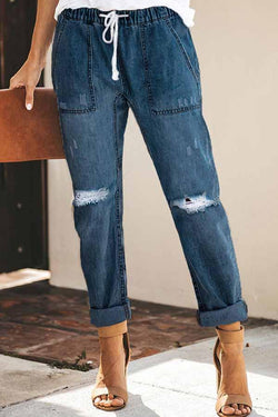 Regular Waist Solid Color Baggy Hole Jeans