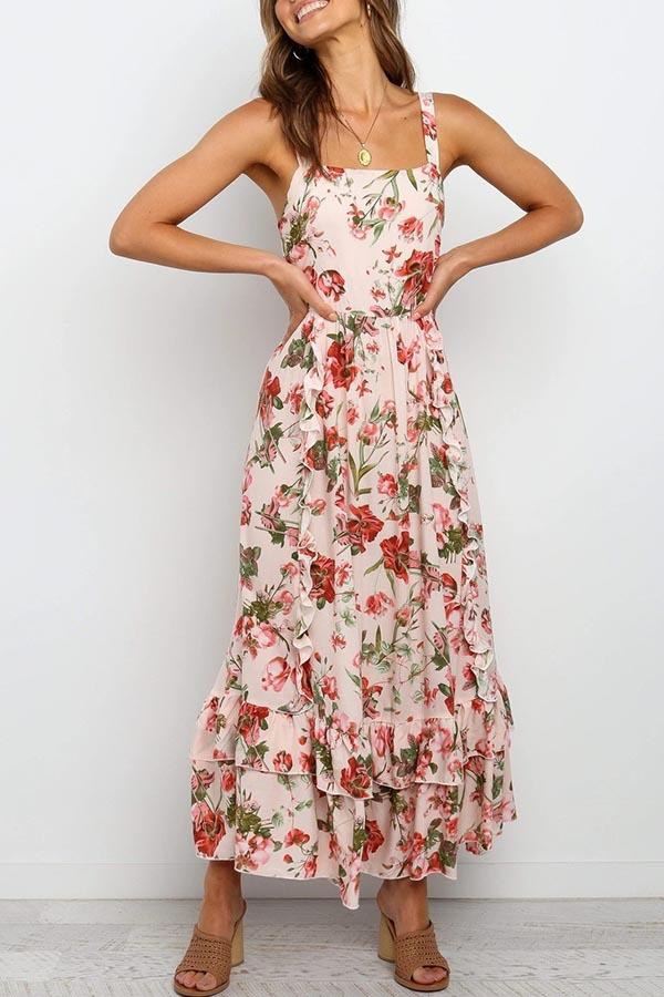 Floral Print Spaghetti Strap Casual Wear Dress