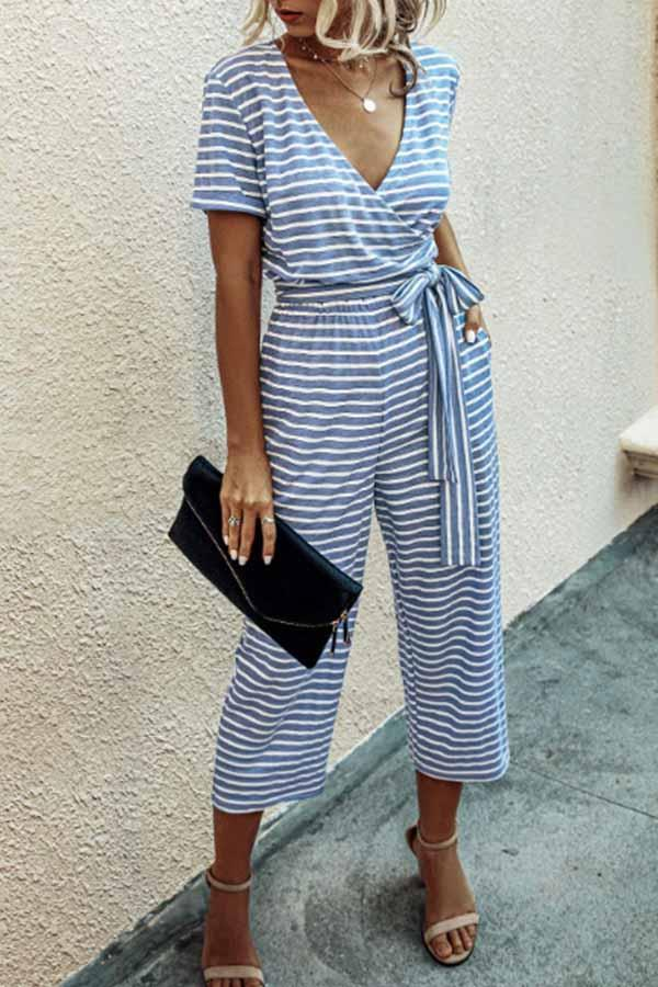 Short Sleeve Striped V Neck Casual Jumpsuit