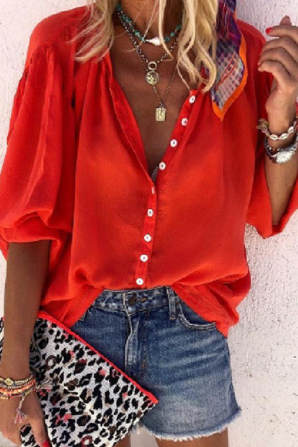 Half Sleeve Solid Color Turtle Neck Single Breasted Blouse