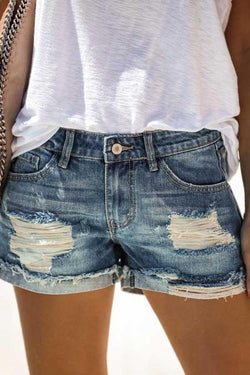 Regular Waist Solid Color Regular Fit Hole Casual Denim Shorts