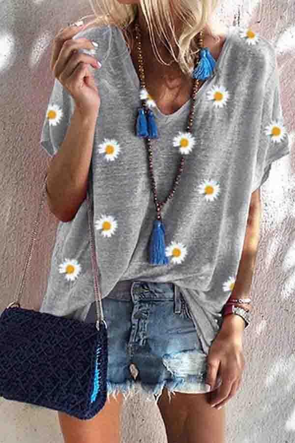 Short Sleeve Floral Print Round Collar Leisurewear T-Shirt