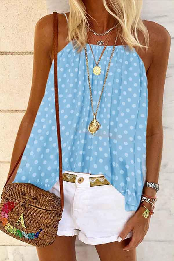 Sleeveless Polka Dot Frenulum Pleated Vest
