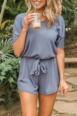 Short Sleeve Solid Color Round Collar Casual Wear Romper
