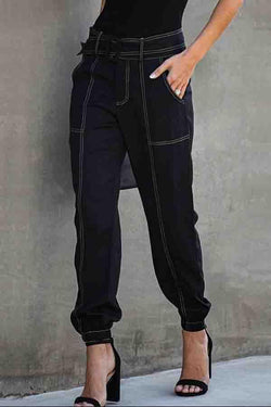 Regular Waist Solid Color Baggy Casual Wear Pants
