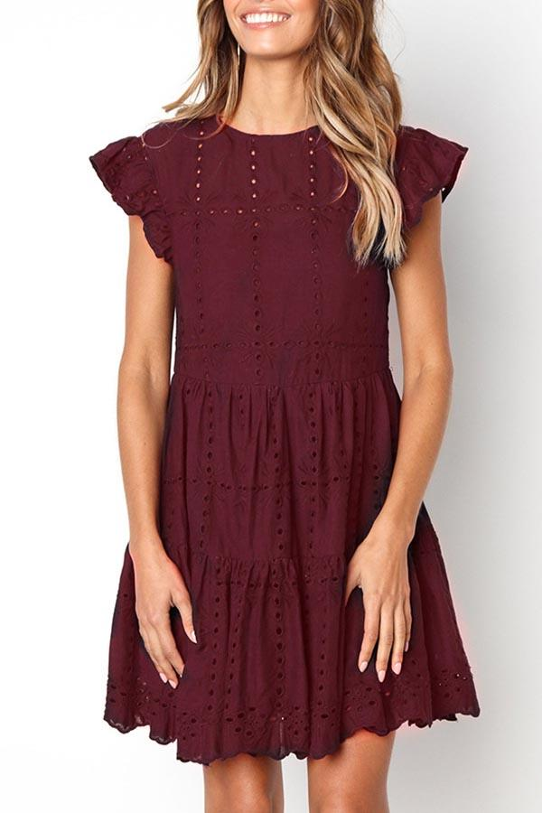 Solid Color Cutout Round Neck Pleated Dress
