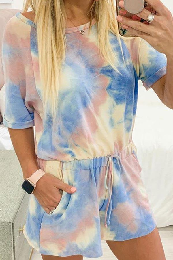 Tie Dye Round Neck Casual Wear Romper