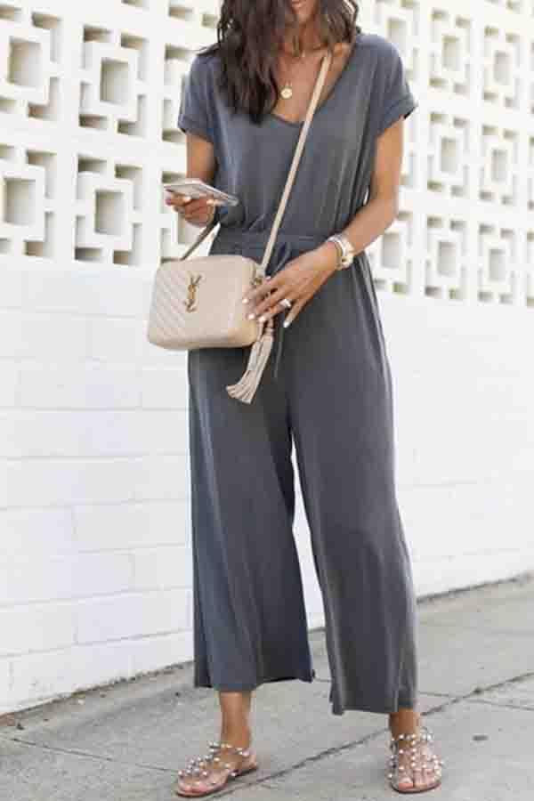 Plain V Neck Casual Wear Jumpsuit