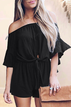 Flounce Sleeve Solid Color Off Shoulder Casual Wear Romper