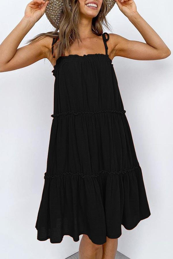 Solid Color Spaghetti Strap Pleated Dress