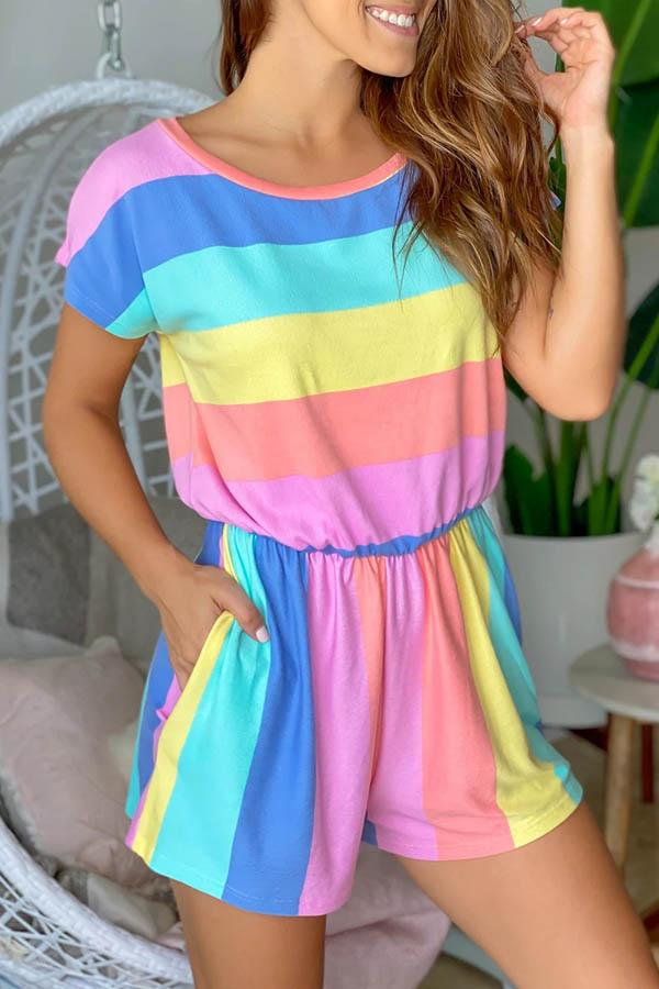 Striped Round Neck Leisurewear Romper