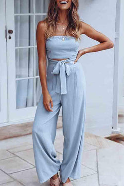 Sleeveless Solid Color Bandeau Casual Wear Jumpsuit