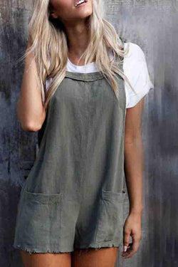 Solid Color Regular Fit Casual Wear Romper