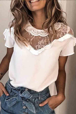 Short Sleeve Lace Round Collar Casual Wear Shirt
