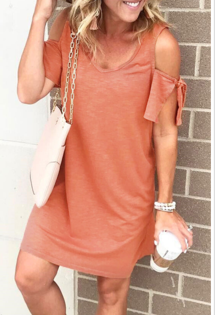 Casual Dew Shoulder Mini Dress
