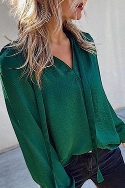 Puff Sleeve Solid Color V Neck Casual Wear Blouse