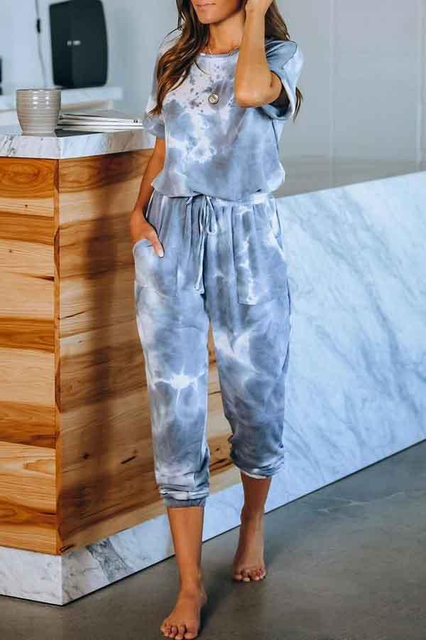 Short Sleeve Tie Dye V Neck Casual Wear Jumpsuit