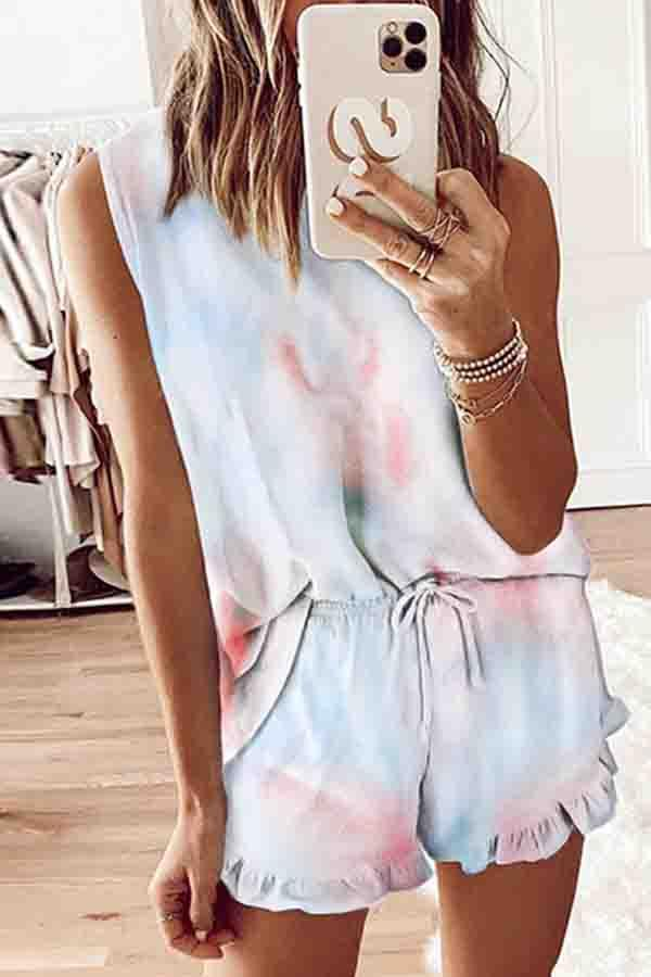 Sleeveless Tie Dye Round Collar Leisurewear Set