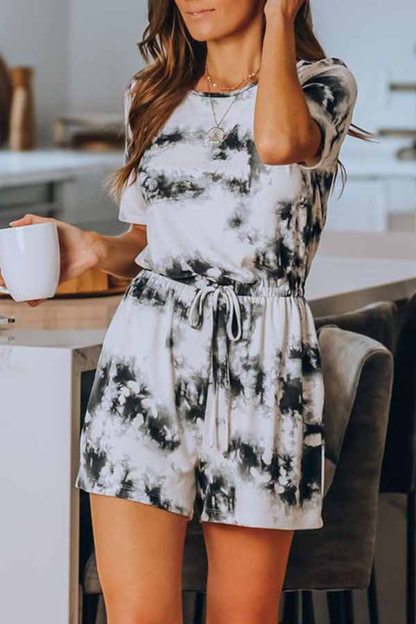 Short Sleeve Tie Dye Round Neck Casual Wear Romper