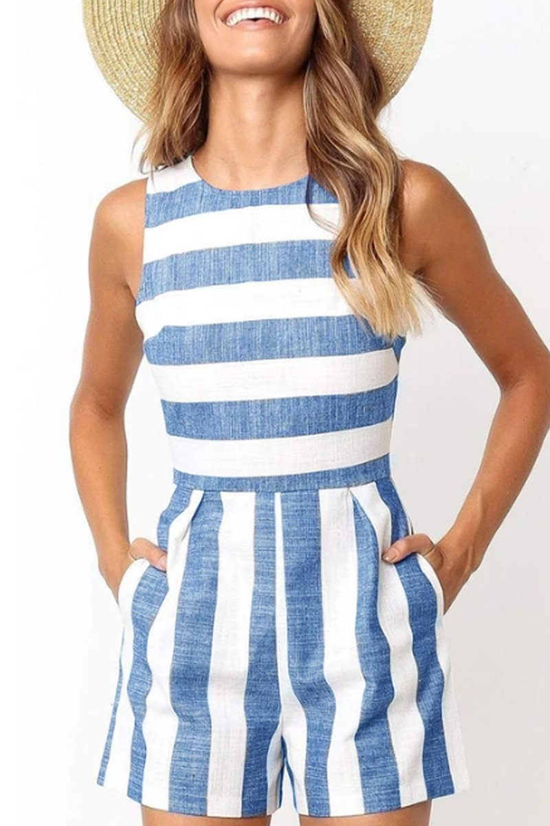 Sleeveless Striped Romper(3 Colors)