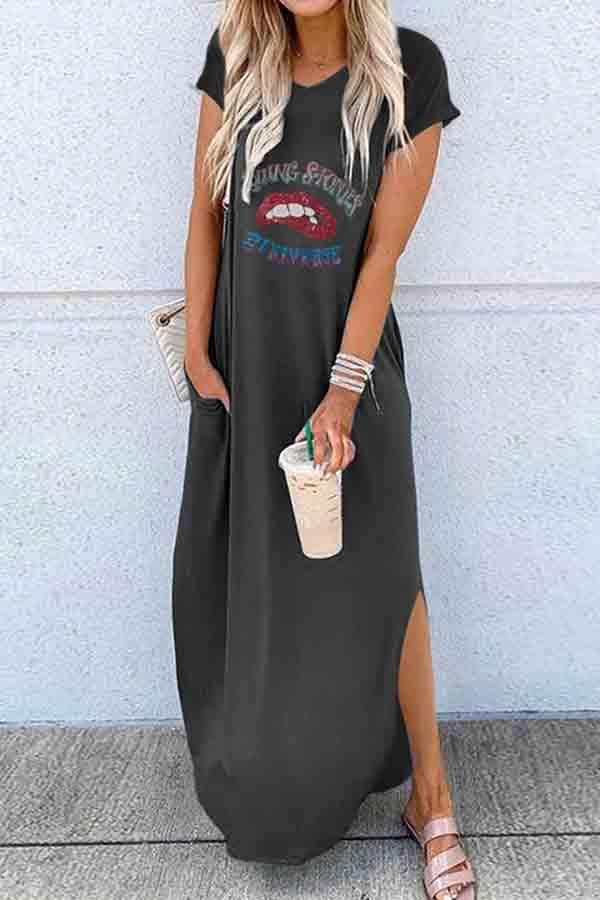 Short Sleeve Lips Round Neck Fork opening Dress