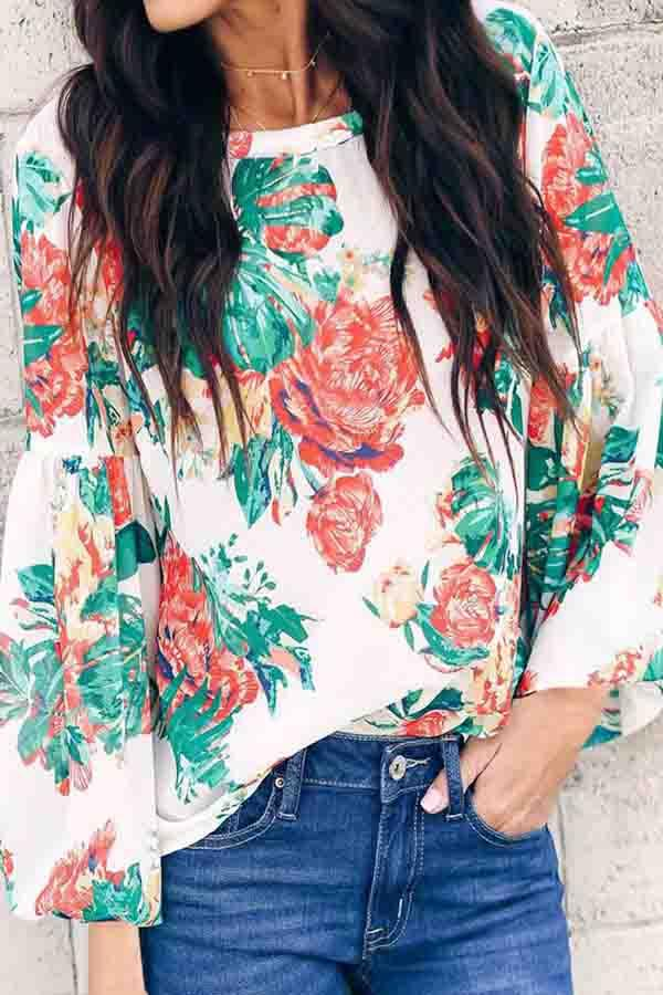 Puff Sleeve Natural Print Round Collar Casual Wear Blouse