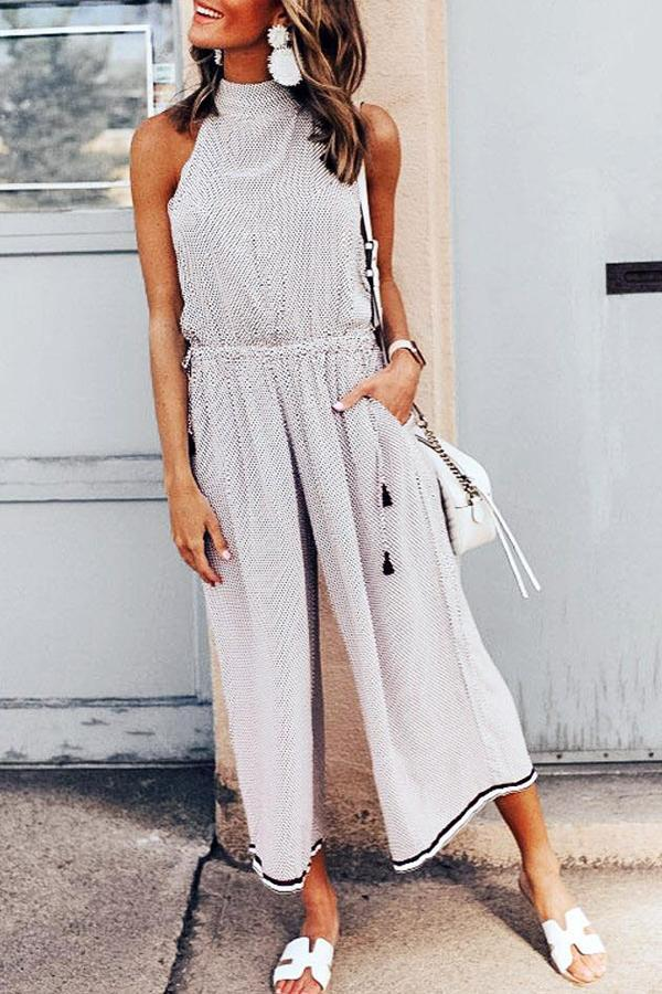 Sleeveless Polka Dot Hood Casual Wear Jumpsuit