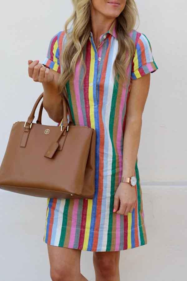 Short Sleeve Rainbow Striped Turtle Neck Single Breasted Dress