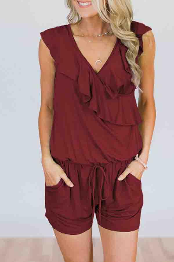 Solid Color Lace V Neck Casual Wear Romper