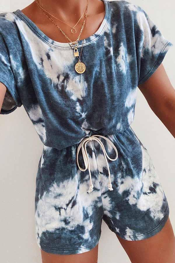 Tie Dye One Shoulder Casual Wear Romper