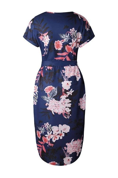 Calf-Length Short Sleeve Casual Natural Print V Neck Casual Wear Dress