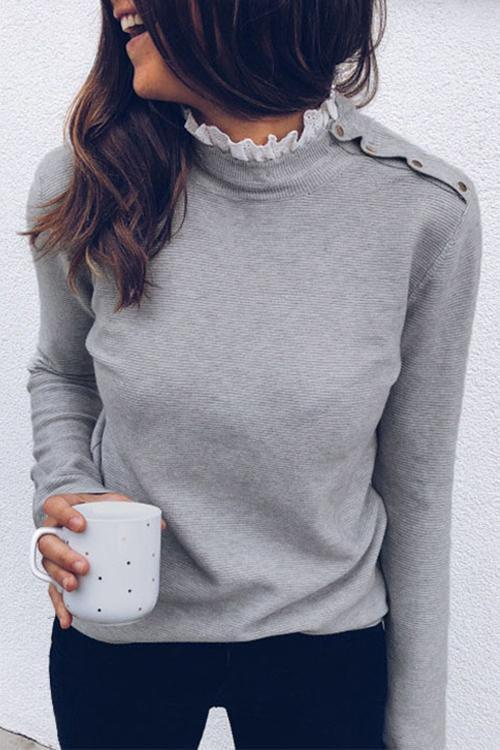 Long Sleeves Lace Solid Color T-shirt