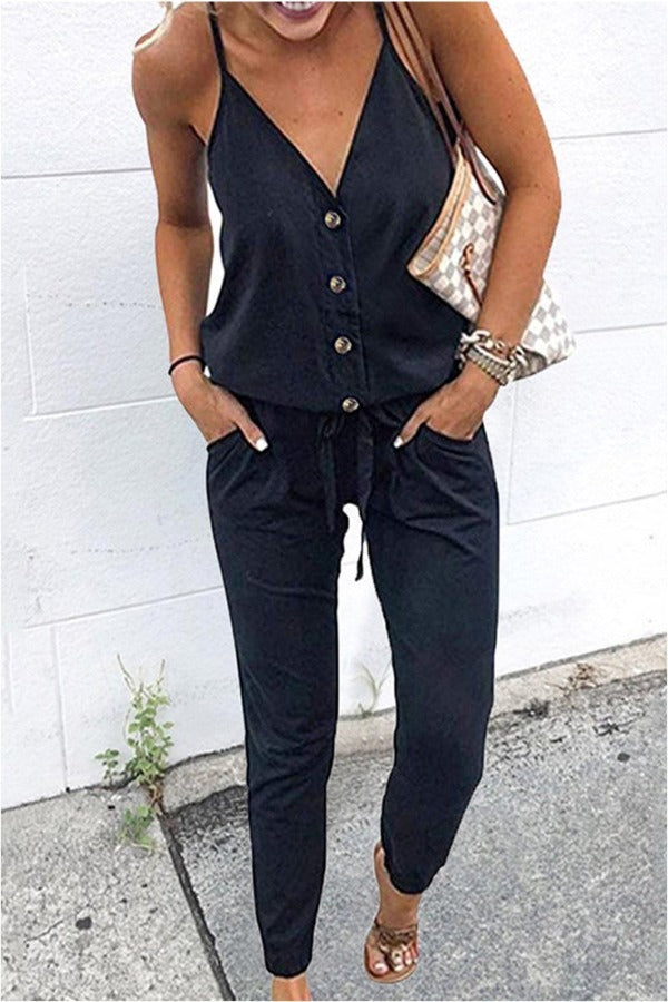 Casual V Neck Lace-up One-piece Jumpsuit