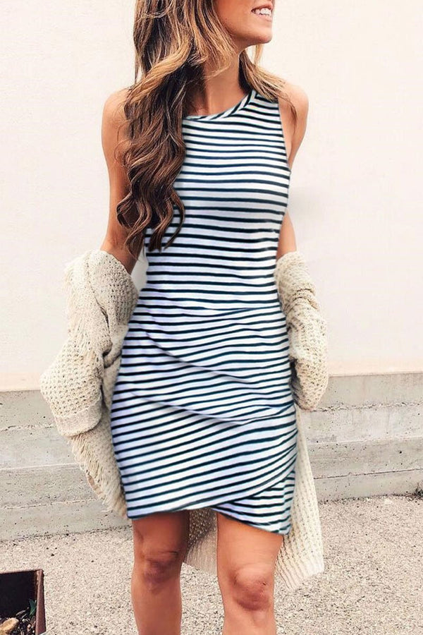 Sleeveless O Neck Striped Mini Dress