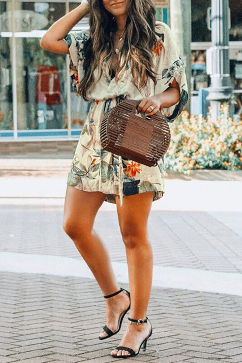 Short Sleeve Floral Printed Lace-up Dress
